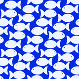 Seamless fish swimming on the ocean background. Swimming fish blue ocean background Royalty Free Stock Photo