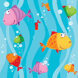 Seamless fish in water with waves. Illustration of a seamless fish in water with waves Royalty Free Stock Photography
