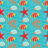 Seamless fishes pattern. Stock Photo