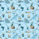 Seamless fishing pattern Stock Images