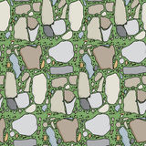 Seamless Flagstone in Grass. Seamless pattern with various types of stone in green grass Stock Image