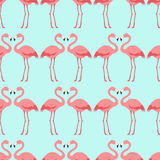 Seamless flamingo bird pattern. With aqua background Vector Illustration