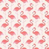 Seamless flamingo birds pattern. Seamless exotic flamingo birds cartoon pattern Stock Illustration