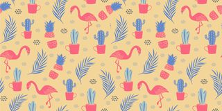 Seamless flamingo pattern vector illustration vintage retro design. Fashion textile background print exotic summer nature tropical bird decoration pink vector illustration