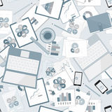 Seamless flat business vector pattern with stationery. Stock Images