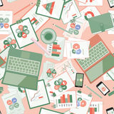 Seamless flat business vector pattern with stationery. Royalty Free Stock Photos