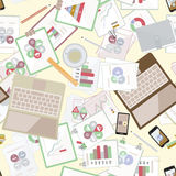 Seamless flat business vector pattern with stationery. Stock Photo