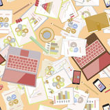 Seamless flat business vector pattern with stationery. Royalty Free Stock Image