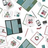Seamless flat business vector pattern with stationery. Stock Image