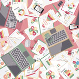 Seamless flat business vector pattern with stationery. Royalty Free Stock Photo