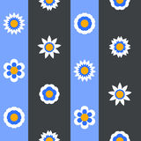 Seamless flat flower repeating pattern. Seamless flat flowers repeating pattern. Vector background Royalty Free Stock Photo