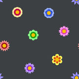 Seamless flat flower repeating pattern. Seamless flat flowers repeating pattern. Vector background Royalty Free Stock Photography