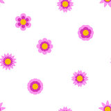 Seamless flat flower repeating pattern. Seamless flat flowers repeating pattern. Vector background Stock Image