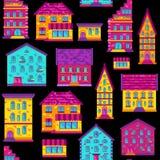 Seamless Flat House Pattern-03 Royalty Free Stock Photography