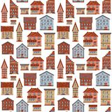 Seamless Flat House Pattern-01 Stock Images