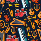 Seamless flat musical instruments pattern Stock Image