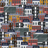 Seamless flat pattern with different city buildings. city background Stock Photos