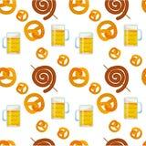 Seamless flat pattern of traditional Oktoberfest food. Oktoberfest beer festival icons. Oktoberfest symbol: mug, beer, snack, vector illustration
