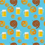 Seamless flat pattern of traditional Oktoberfest food. Oktoberfest beer festival icons. Oktoberfest symbol: mug, beer, snack,. Seamless pattern of traditional royalty free stock photography