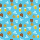 Seamless flat pattern of traditional Oktoberfest food. Oktoberfest beer festival icons. Oktoberfest symbol: mug, snack, pretzel, royalty free stock photo