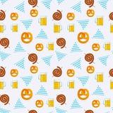 Seamless flat pattern of traditional Oktoberfest food. Oktoberfest beer festival icons. Oktoberfest symbol: mug, snack, pretzel,. Seamless pattern of traditional royalty free illustration