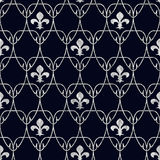 Seamless Fleur de Lis Art Nouveau Scale Pattern with Silver Over Stock Images