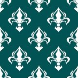 Seamless fleur-de-lis royal white pattern Stock Photo