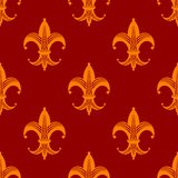 Seamless fleur de lys royal orange pattern Stock Image