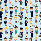 Seamless flight attendant/pilot pattern Royalty Free Stock Images