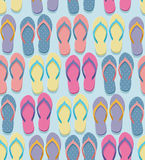 Seamless flip flop pattern. Seamless pastel colorful flip flops pairs pattern, illustration in flat design style Royalty Free Stock Images