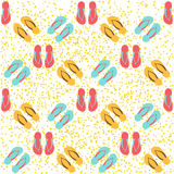 Seamless flip flops. Bright flip flops seamless background on a white background Royalty Free Stock Images