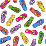 Seamless flip-flops pattern. Seamless (repeatable, easy tilable, repeat) pattern (print, background, wallpaper) of colorful flip-flops scattered over white vector illustration