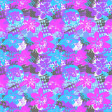 Seamless flkoral pattern. Brush pen hand drawn doodle abs. Tract diagonal flower shapes texture royalty free illustration