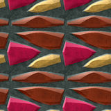 Seamless floor 3d pattern with gold, red and brown sharp polygonal stones Stock Photos