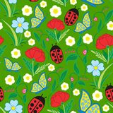 Seamless Flora Fauna Pattern Stock Photos