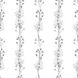 Seamless floral with abstract black and white flowers Royalty Free Stock Images