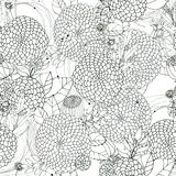 Seamless floral with abstract black and white flowers Stock Images