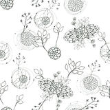 Seamless floral with abstract black and white flowers Stock Image