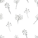 Seamless floral with abstract black and white flowers Stock Photography