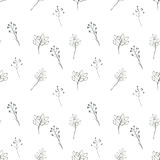 Seamless floral with abstract black and white flowers Royalty Free Stock Image