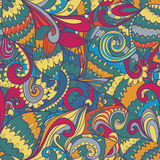 Seamless floral abstract hand-drawn waves pattern Royalty Free Stock Photos