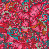 Seamless floral abstract hand-drawn waves pattern Royalty Free Stock Images