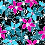 Seamless floral abstract pattern black. Background Royalty Free Stock Photo