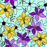 Seamless floral abstract pattern blue. Background Royalty Free Stock Photos
