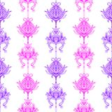 Seamless floral abstract pattern. Colorful print composed of purple and pink line flowers on white background. Royalty Free Stock Images