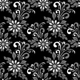 Seamless floral abstract Pattern with Flowers on black Background Royalty Free Stock Image