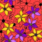 Seamless floral abstract pattern red. Background Stock Images