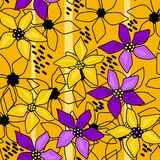 Seamless floral abstract pattern yellow. Background Stock Image
