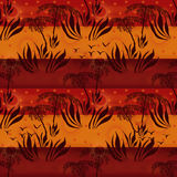 Seamless floral african pattern with plants silhouettes of palms Stock Photo