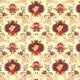 Seamless Floral Animals Pattern B Stock Image